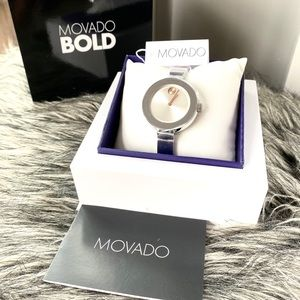 NWT authentic MOVADO Bold silver watch